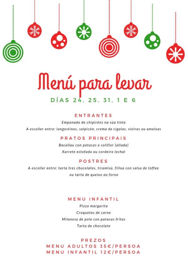 menu para Levar